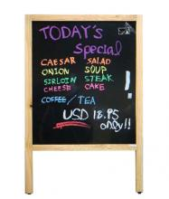 BLACK DRY-ERASE SURFACE SIGN BOARD,DOUBLE SIDE,WOODEN FRAME